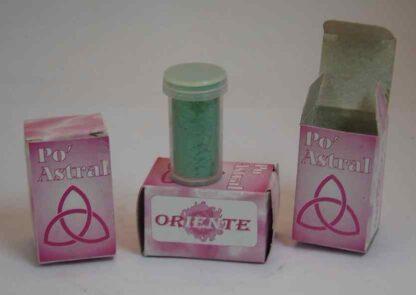 po astral tubo color verde cajas color rosa con logo de oriente