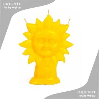 vela con forma de sol amarillo en parafina con fondo blanco