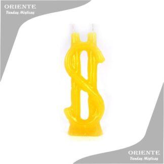 vela signo peso amarilla con fondo blanco