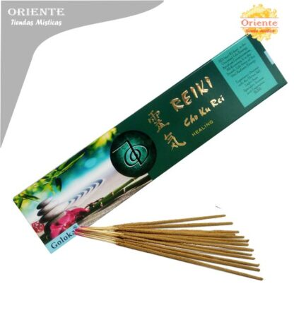 inciensos para reiki healing-cho ku rei curacion caja verde con letras en dorada con sahumerios masalas