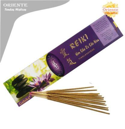 inciensos para reiki hon-sha-ze-sho-sho-nen-timelessness caja violeta con letras en dorada con sahumerios masalas