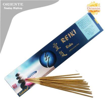 inciensos para reiki raku grondundign caja azul con letras en dorada con sahumerios masalas