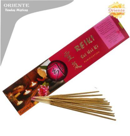 inciensos para reiki sei hei ki purificacion caja bordo con letras en dorada con sahumerios masalas
