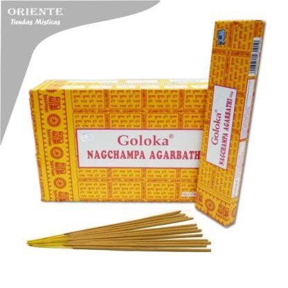 inciensos nag champa goloka caja amarilla con letras rojas y cuadro balnco en el medio de la caja con sahumerio masala