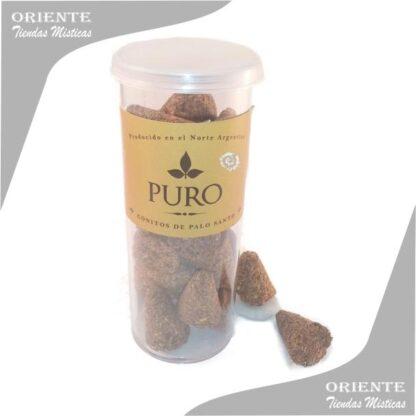 tubo con 23 conitos de palo santo marca puro