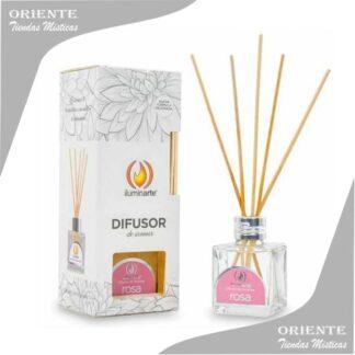 difusor en caja de aromas a rosa con varillas de bambu colocadas dentro del difusor
