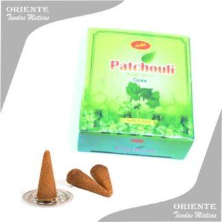cono de pachuli en caja verde y tres conitos y su portaconito