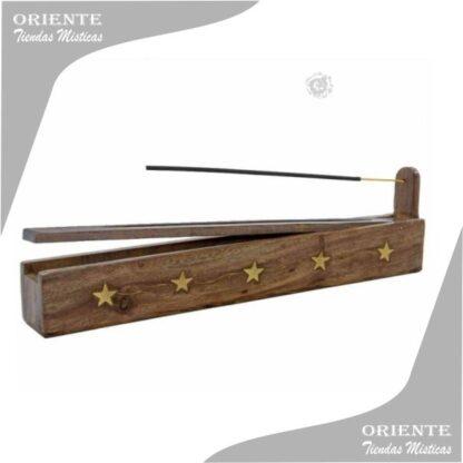 porstasahumerio caja de madera calado con incrustaciones en bronce