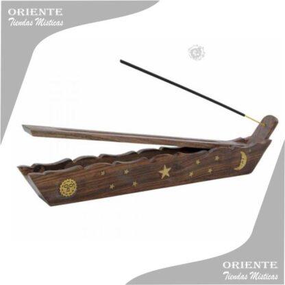 portasahumerio madera tipo gondola caja con incrustaciones en bronce