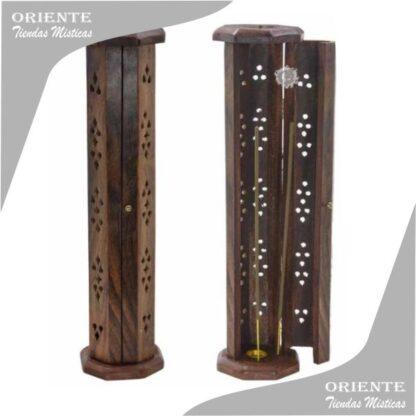 portasahumerio madera torre con purta madera calada de la india