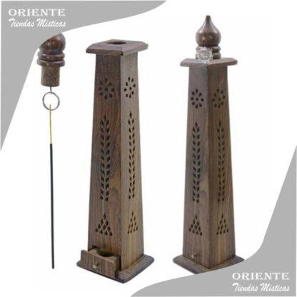 Portasahumerio colgante de madera tallada con inciensos