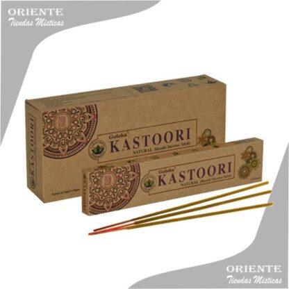 sahumerio Kastoori goloka caja color madera con 3 inciensos