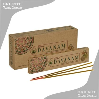 sahumerio davanam goloka caja color madera con 3 incinesos