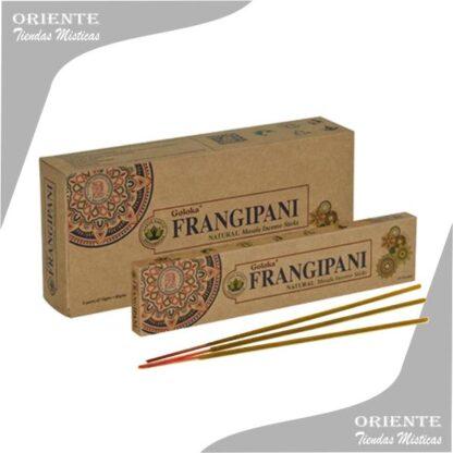 sahumerio frangiapani goloka caja color madera con 3 inciensos