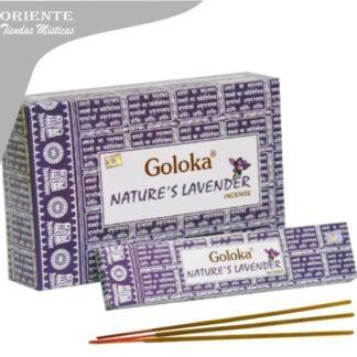 sahumerio lavander goloka con 3 inciensos en la base caja color violeta