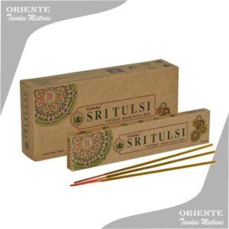 sahumerio sritulsi goloka caja color madera con 3 inciensos en la base