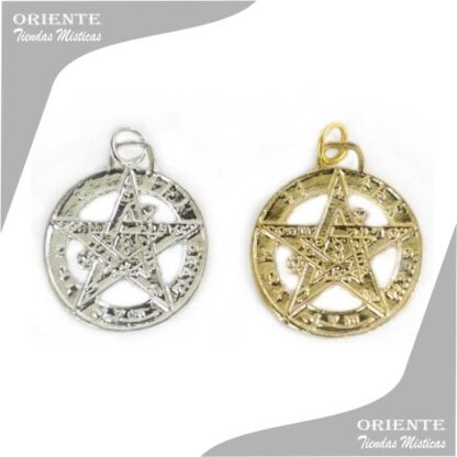 talisman tetragramatron en dije dorado o plateado taliman