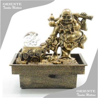fuente de buda de la fortuna con monedas chinas y esfera de cristal