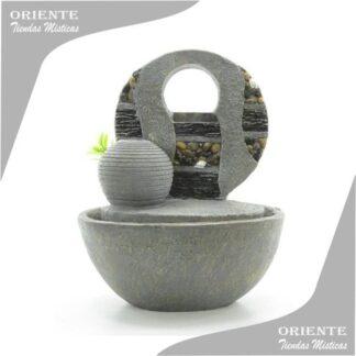 fuente del feng shui con doble cascada y una esfera