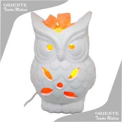lampara lechuza con sal del himalaya color blanco