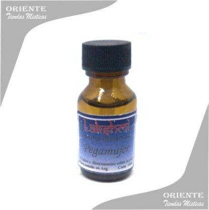 aceite pega mujer puro de 10 cc en botella color caramelo