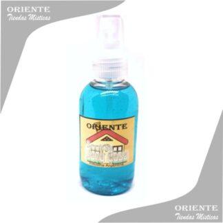 Loción limpia casa , de color celeste también denominado spray aurico limpiacasa o perfume lavacasa