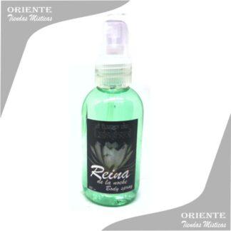 Loción Reina , de color verde claro con etiqueta del la flor afrodisiaca también denominado spray aurico de Reina de la noche o perfume de Reina