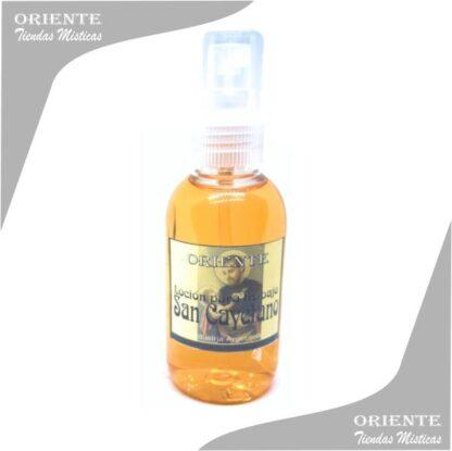 Locion san cayetano , de color amarillo con etiqueta del santo también denominado spray aurico para el trabajo o perfume san cayetano