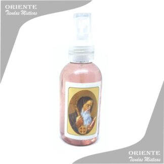 Locion san Cipriano, de color rojo con etiqueta del santo también denominado spray aurico san sipriano o perfume san benito