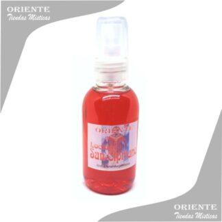 Locion san Cipriano, de color rojo con etiqueta del santo también denominado spray aurico san sipriano o perfume san cipriano