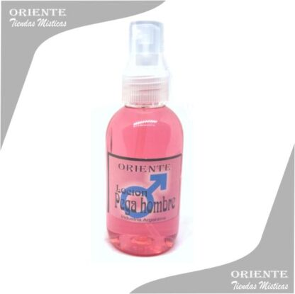 Locion pega hombre , de color rojo claro también denominado spray aurico atractivo de hombres o perfume de pegahombre