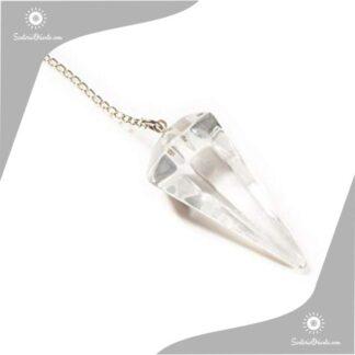 pendulo de cristal de cuarzo transparente en rosario