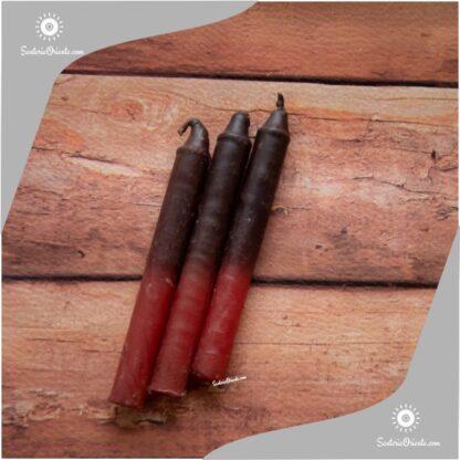 Velas cortas de Exu negro y rojo abajo