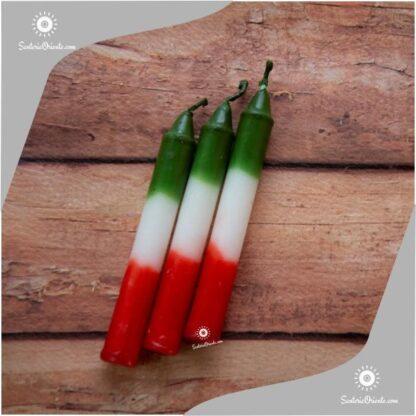 Vela corta de san jorge rojo blanco verde con fondo color madera