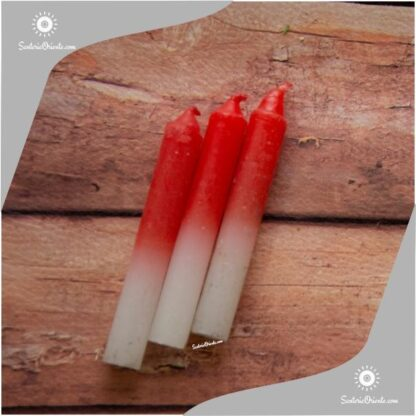 velas de santa barbara de color rojo y blanco abajo
