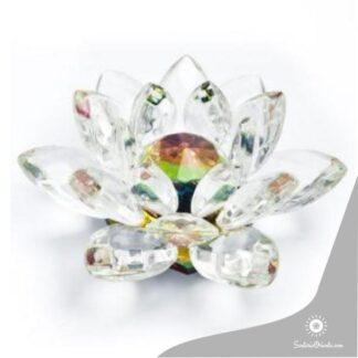 flor de loto cristal con centro mulicolor en rosario