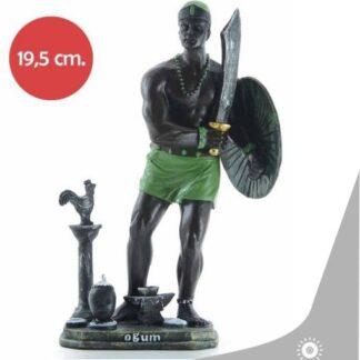 imagen de ogum con sus respectivas ferramentas pintado en marron oscuro y detalles en verdes