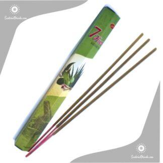 sahumerio de 7 hiervas de la india caja color verde