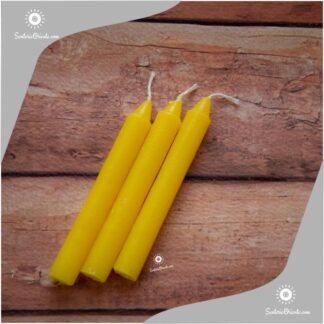 vela corta amarilla y velas cortas amarillas x 100