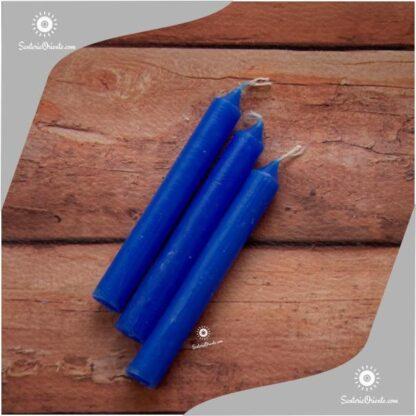 vela corta azul y velas cortas azules x 100