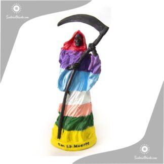 imagen de san la muerte de 7 colores en resina poliester