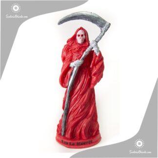 imagen de san la muerte rojo en resina