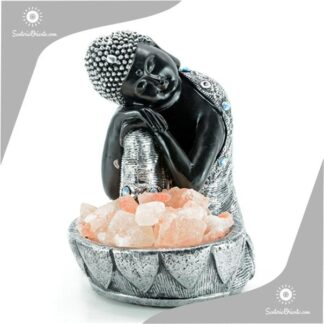 Lampara de Sal buda o fuente de sal de buda con mano sobre su rodilla