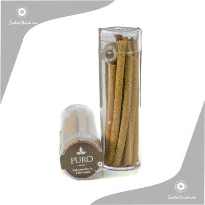 Sahumerio de palo santo marca puro x 10 gramos en tubo de plastico transparente