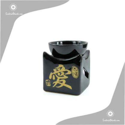 Horno cuadrado en negro con simbolos dorados 8,5 cm