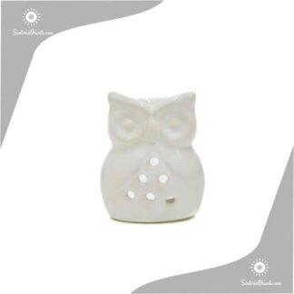 Horno de ceramica con forma de buho o lechuza para poner aceites aromaticos