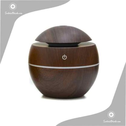 Humidificaor con forma de bolita marron oscuro madera con led