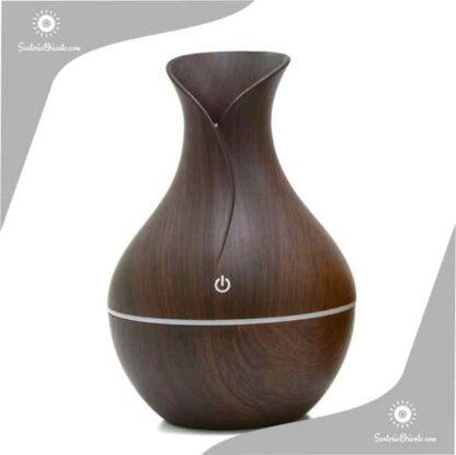 humidificador madera oscuro tipo florero