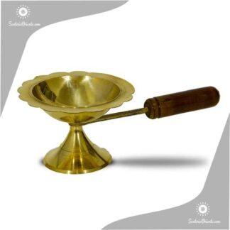 sahumadores inciensero de bronce con manija de madera