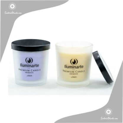 vela iluminarte aromatica con tapa negra mediana frasco esmerilado